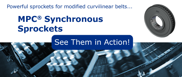 MPC Synchronous Sprockets for Curvilinear Belts